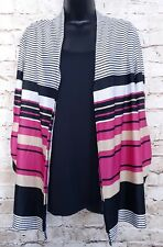 Notations 2 Piece Blouse Womens XLarge Ruched Sleeves Striped Tunic Pink NEW $29
