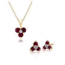 Gemondo 9 Ct Oro Amarillo Rubí Y Diamante Floral Pendientes De Presión & 45cm