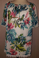 Women's Alyx White Green Tropical Short Sleeve Breezy Blouse Top Sizes 0X, 1X