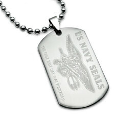 U.S. Navy Seals Logo w/ Psalm 23:4 Inscription Stainless Steel Dog Tag Necklace