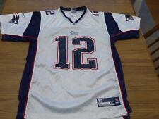 New England Patriots Boys XL Tom Brady #12 White Jersey Reebok Very Good Pre Own
