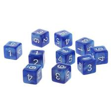 Pack of 10pcs Dungeons D&D Role Playing Games Six Sided D6(1-6) Dice Blue