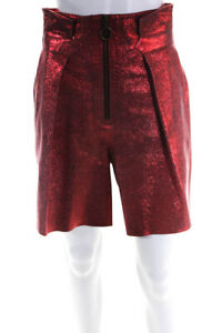 Philosophy Womens Leather Metallic High Waisted Wide Leg Shorts Red 4