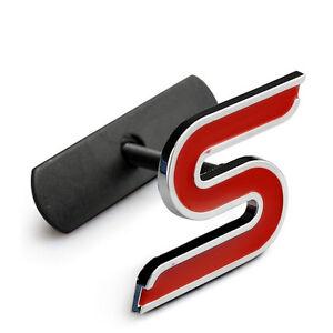 S Metal Chrome Car Badge Emblem Decals Letter S for Grille Car Logo Stickers 3D