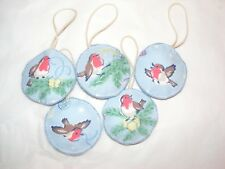 Christmas Robin Cath Kidston Fabric Handmade Hanging Decorations set of 5