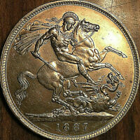 1887 UK GREAT BRITAIN VICTORIA SILVER CROWN - Stunning high grade example!