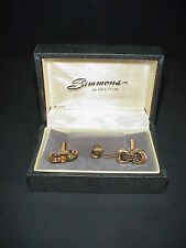 Vintage Mens Cufflink & Tie Tack Pin Set Simmons 12 Gold Filled Box