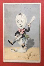 CPA. Illustrateur A. MULLER. 1905. L'Oeuf à la coque. 1. Cuillère Musique.