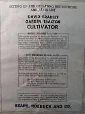 David Bradley Garden Tractor Cultivator Implement Owner Amp Parts Manual 91757524
