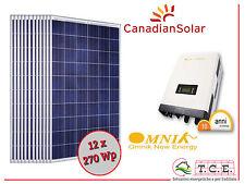 Kit fotovoltaico 3 kW 12 moduli CANADIAN SOLAR 270 Wp + inverter OMNIK 3.0k TL2
