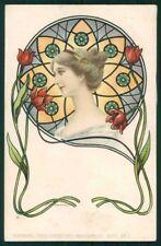 Art Nouveau Lady Flowers Theo Stroefer's 157-2 postcard TC4853