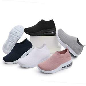 LADIES WOMENS SLIP ON SOCK WEDGE SNEAKERS CLASSIC JOGGING  SHOES TRAINERS (BK02)