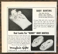 1944 Mayfair Gifts Forest Hills NY Holiday Ad Baby Bunting Doll Bunny Slippers