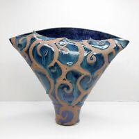 LIZ KINDER Studio Pottery Elliptical Vase Blue Brown Glazed Stoneware Signed