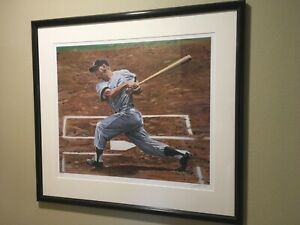 1956/1995 MICKEY MANTLE Batting YANKEES FRAMED LITHOGRAPH BY ANDY JURINKO 64/600