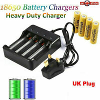 Rechargeable Battery Charger 18650 Li-ion 4 Slots for 4X 3.7v Batteries UK-Plug.