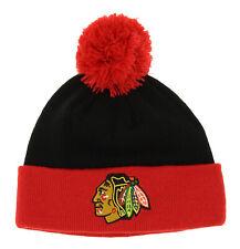 Reebok NHL Kids Chicago Blackhawks Face Off Cuffed Knit Hat With Pom, OSFM
