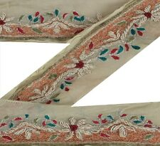 Vintage Sari Border Antique Hand Beaded 1 YD Indian Trim Sewing Cream Lace