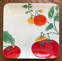 Sonoma Farmhouse Tomato Garden Serving Tray Plate, Ceramic Square, Embossed EUC!
