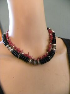 """ONYX, CORAL, STERLING SILVER NECKLACE 17"""""""