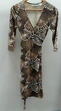 Trend Brown FloralWrap Dress Size 8 <C2207