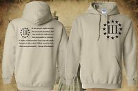THREE PERCENTER HOODED SWEATSHIRT 3% T-SHIRT MOLON LABE 2ND AMENDMENT 3 PERCENT