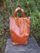 """VTG 1940s Travel Trolley Bag Carry On Faux Leather Swivel Caster Wheels 19.5"""""""