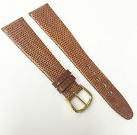 Apollo Genuine Lizard Leather R Brown 19mm Gold Tone Buckle Watch Band