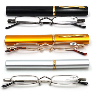 Compact Reading Glasses with Aluminium Tube Case Men Women Spring Hinge Readers