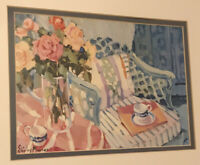 Artist Shirley Murray Framed Art Print Flowers Floral Outside Chair Table