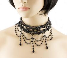 Black Bead Choker Victorian Burlesque Moulin Rouge Beaded Choker Necklace-25104