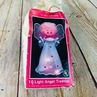 Vtg 10 light Angel tree topper 60's Christmas decoration ornament