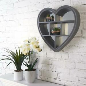 GREY HEART MIRROR SHELF VANITY DEEP WALL MOUNTED SHELF bathroom bedroom 45*45cm