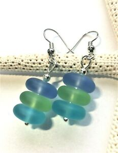 Sea Glass Earrings Multicolor Stacked Sea Glass Earrings