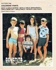 BEVKNITS 7006 ~ BOYS' & GIRLS' SHORTS, BRIEFS, BIKINI TOP, PANTS SZ 6mth - 12yrs