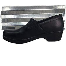 Yuu Clogs Black Faux Leather Working Professional Nursing Slip On Shoe Size 8.5