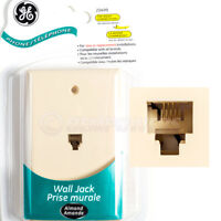 GE Phone Jack Wall Mount Plate Telephone Outlet 4-Wire Conductor RJ11 Almond NEW