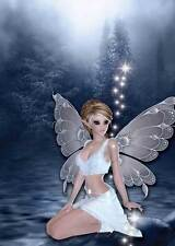 Nighttime Fairy Birthday Card for women & girls sparkly blue and adorable