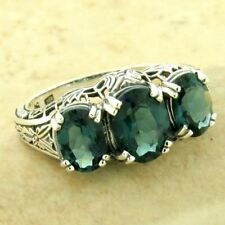 ART DECO 3 STONE 925 STERLING SILVER LONDON BLUE SIM TOPAZ RING SIZE 8,    #1131
