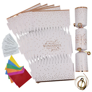 6 Make Your Own Christmas Cracker kit Crackers Hats Snaps ROSE GOLD