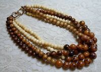 VINTAGE BROWN WOOD & RESIN BEADED MULTI STRAND NECKLACE 18 INCH