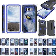 For Samsung Galaxy S8 Active G892 Hybrid Holster Belt Clip Case Stand Armor Blue
