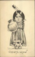Bernhardt Wall - Little White Girl as Native Indian w/ Pottery Postcard c1910