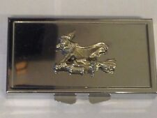 Witch On Broom TG307 Pewter On Mirrored 7 Day Pill box Compact