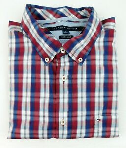 Tommy Hilfiger 100% Cotton LS Button Down Red White Blue Check Men Shirt XL Logo