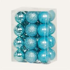Christmas Tree Decoration 24 30mm Shatterproof Baubles - 12 Colours Ice Blue