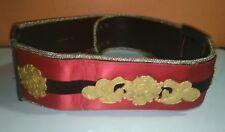 Christian Lacroix ancho Cinturón de cuero rojo con flores de Metal Oro Adornado