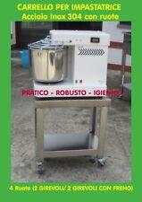CARRELLO PER IMPASTATRICE A SPIRALE ACCIAIO INOX CON 4 RUOTE * CARRELLO INOX *