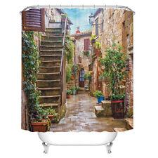 Bath Waterproof Shower Curtain Garden Plant Toilet Seat Cover Bath Mat Non-Slip