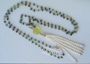 "NEW $895 LAGOS 36"" Green Amethyst Caviar Forever Pearl Tassel Pendant Silver"